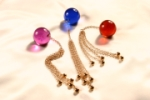 BAV34.1 Insertable 34mm crystal anal orb with five gold pendants
