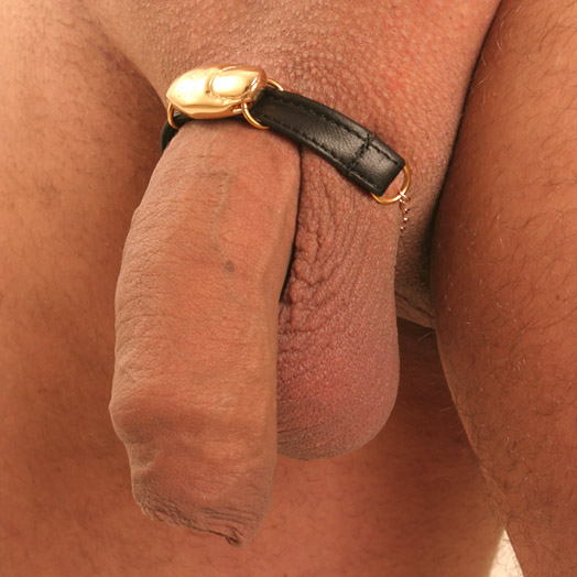 BH130 Men's Leather Penis Bracelet with Gold Finger