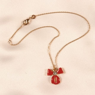 CHC30 wrist/ankle chain red bow in Gold 23-25 cm