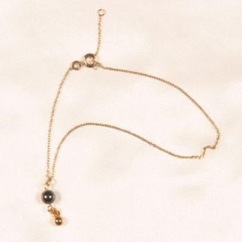 CHC34 Gold and hematite ankle/wrist chain