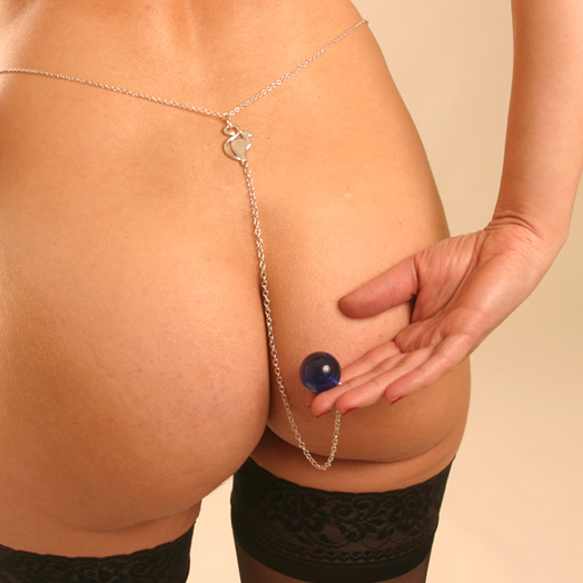 CHT102 Silver Waist Chain with Cat and Insertable Blue Orb (24mm)