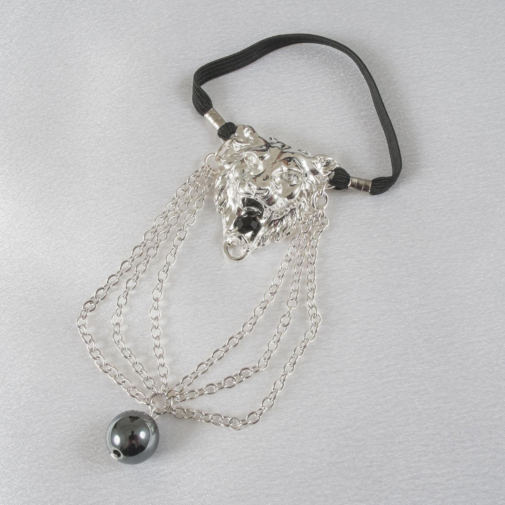 BH145 Men's Silver Lion Head Penis Chain Bracelet with Hematite Gem