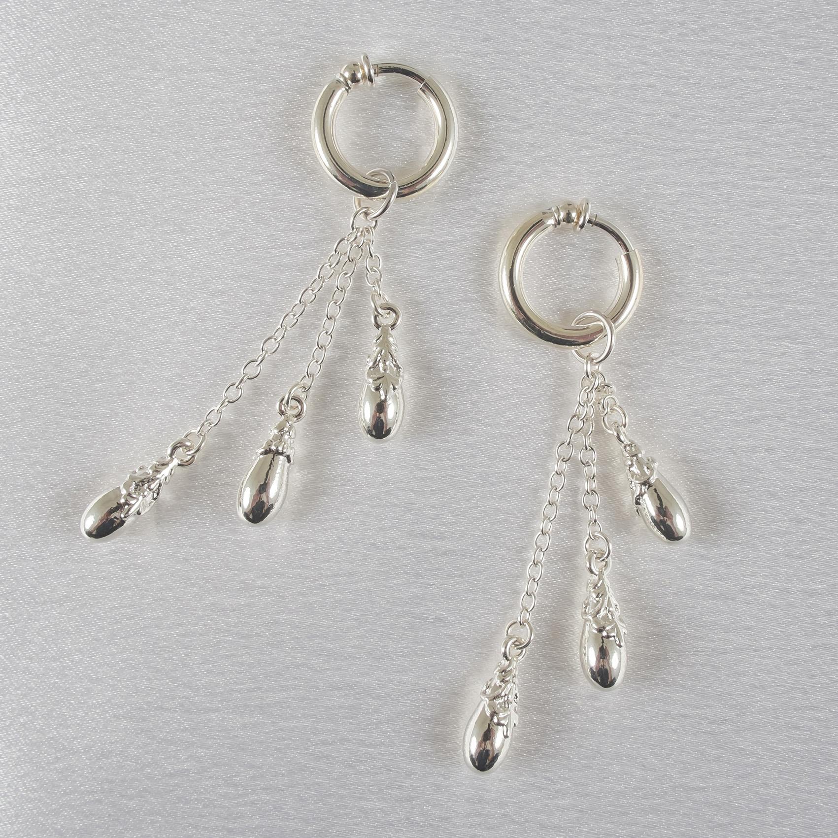PA61 Non-Piercing Labia Rings with Triple Teardrop Pendants in Silver